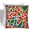 Dancing Flowers Red Outdoor Zippered Pillow Cover with Insert