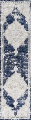 Ornate Medallion Modern Ivory/Navy 2.25' x 10' Runner Rug