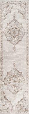 Ornate Medallion Modern Cream/Red 2.25' x 10' Runner Rug