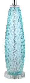 Clear Blue Turquoise Glass with Polished Nickel Accents & White Linen Shades Table Lamps