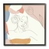 Female Linework Study Floral Hair Abstract Curves Black Framed Wall Art