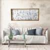 Soft Blue Garden Wood Framed Canvas 19x45 Wall Art