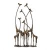 Towering Giraffe Herd Antique Bronze Cast Iron Sculpture