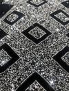 Naya Rectangle Black Silver Velvet Decorative Throw Pillow