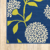Floral Indigo and Lime Green Outdoor Runner Rug