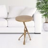 Supportive Man Antique Gold Aluminum End Table