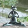 Meditating Yoga Frog Verdigris Aluminum Garden Sculpture