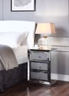 Mirror Trim and Faux Crystal Inlay 3-Drawer Wooden Silver Nightstand