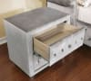 Traditional Button Tufting Fabric and Solid Wood Gray Nightstand