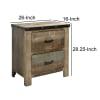 Rough Sawn Design & Rivet Banding Wooden Brown Nightstand