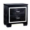 Textured Detail and Mirror Trim 2-Drawer Wooden Black Nightstand