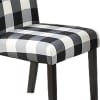 Checkered Pattern Fabric Dining Chair with Button Tufting, Set of 2, Black