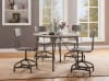 Metal Adjustable Side Chair with Curved Panel Top Back, Set of 2, Gray