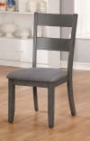Wooden Side Chair With Fabric Padded Seat, Pack of Two, Gray