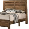 Rustic Style Wooden Queen Bed with Grain Details, Brown