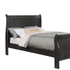 Twin Size Wooden Sleigh Bed with Panel Legs, Charcoal