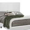 Leatherette Queen Size Wooden Bed with Low Profile Footboard, White