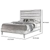 Panel Design Queen Bed with Plank Style Headboard and Mirror Inlay, Silver