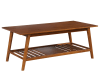 Wooden Coffee Table with Angled Legs and Open Shelf Storage, Brown