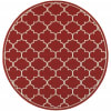 Round Red and Ivory Trellis Outdoor Area Rug