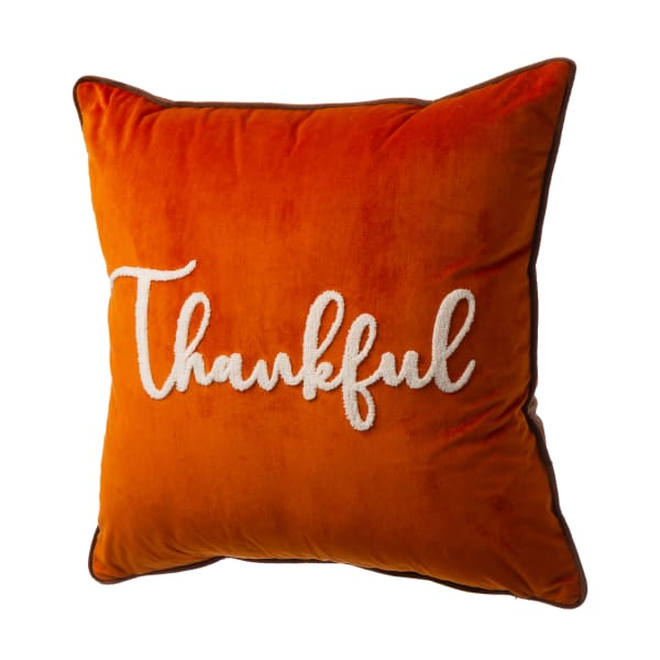 """Velvet Pillow Cover With """"Thankful"""" Word"""