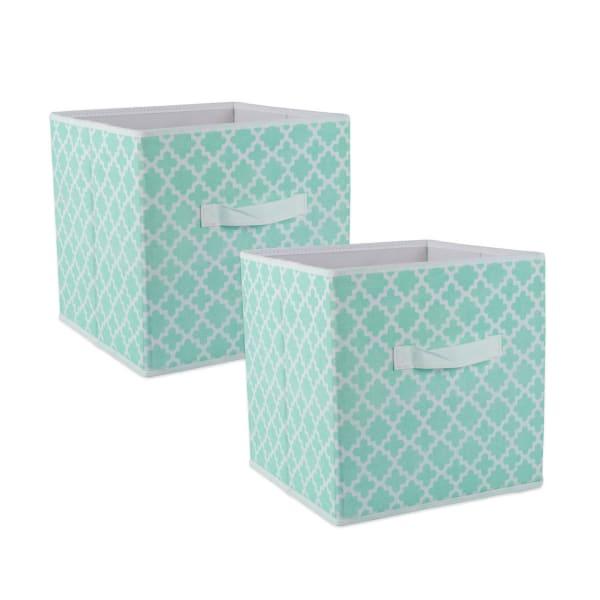 Nonwoven Polyester Cube Lattice Aqua Square 11x11x11 Set/2
