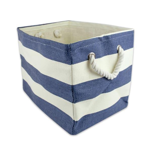 Paper Basket Stripe Nautical Blue Rectangle Medium 15x14x10