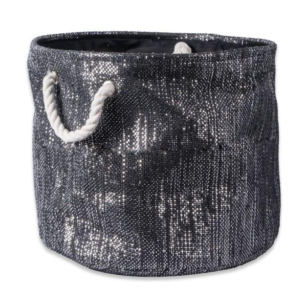 Paper Bin Lurex Black/Silver Round Small 13.75x13.75x12