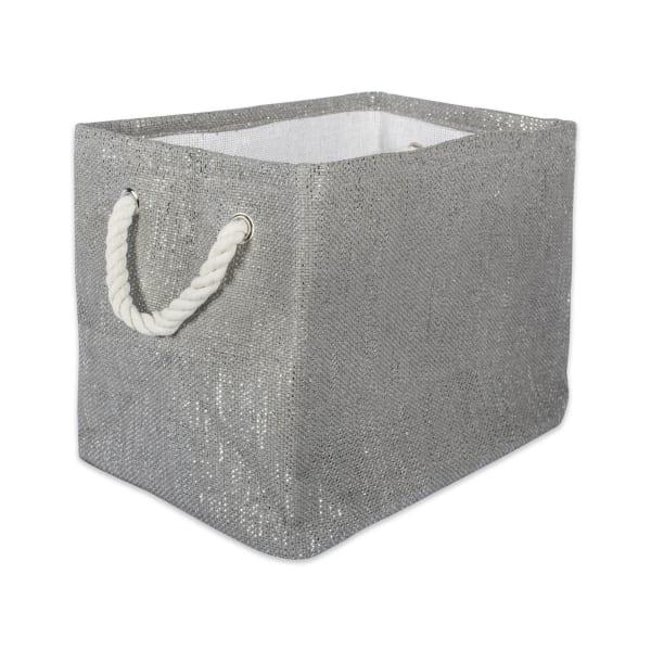 Lurex Gray/Silver Rectangle Bin 15x10x12