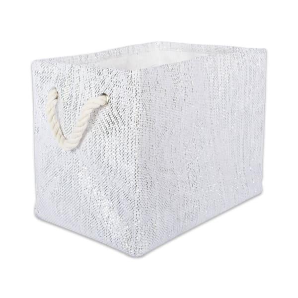 Paper Bin Lurex White/Silver Rectangle Small 11x10x9
