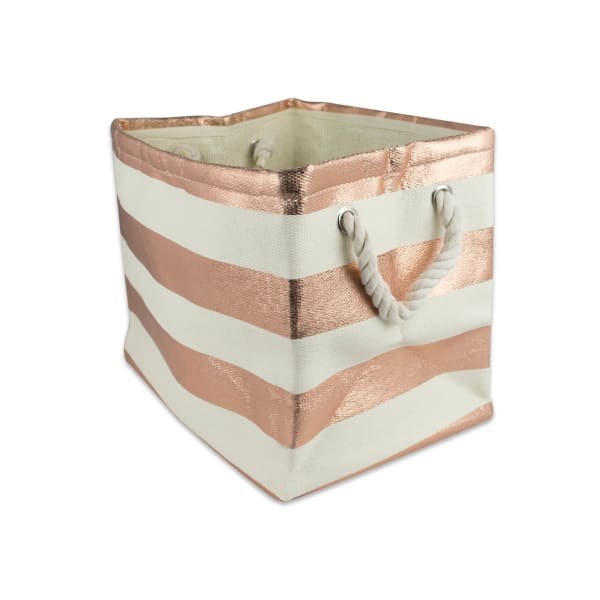 Paper Bin Stripe Copper Rectangle Large 17x12x12