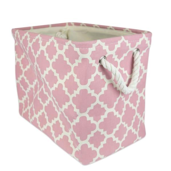 Polyester Bin Lattice Rose Rectangle Medium 16x10x12