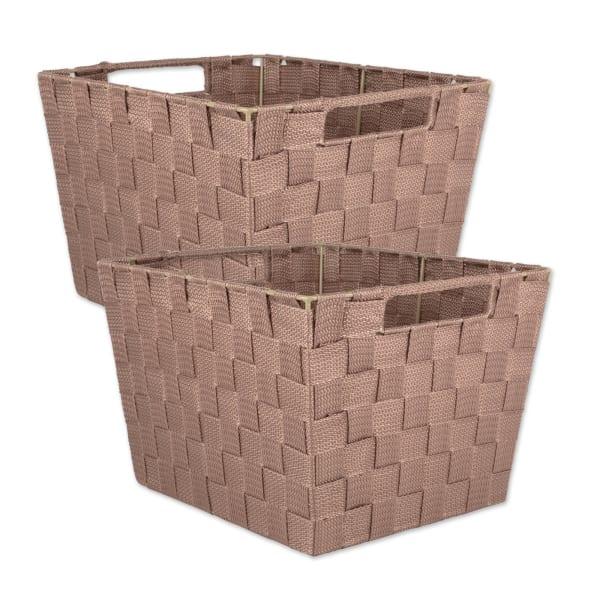 Nylon Bin Basketweave Taupe Trapezoid 13x15x10 Set/2