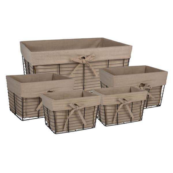 Vintage Grey Wire Basket(Set of 5) Desert Taupe Liner
