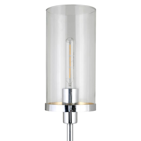 Frieda Polished Nickel Floor Lamp with Clear Glass Shade