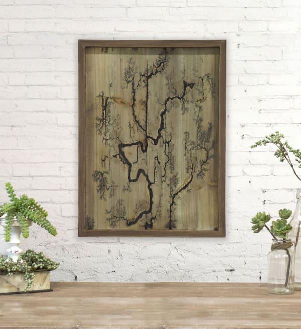 Rectangle Wood Burning Wall Art (Brown )