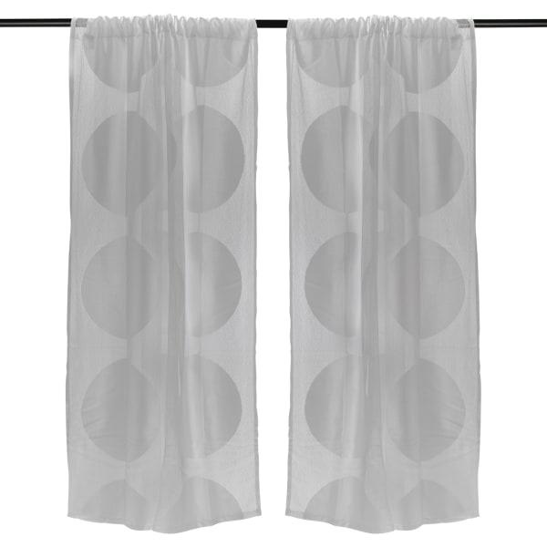 Gray Lace Circle Window Curtain 52x63 Set/2