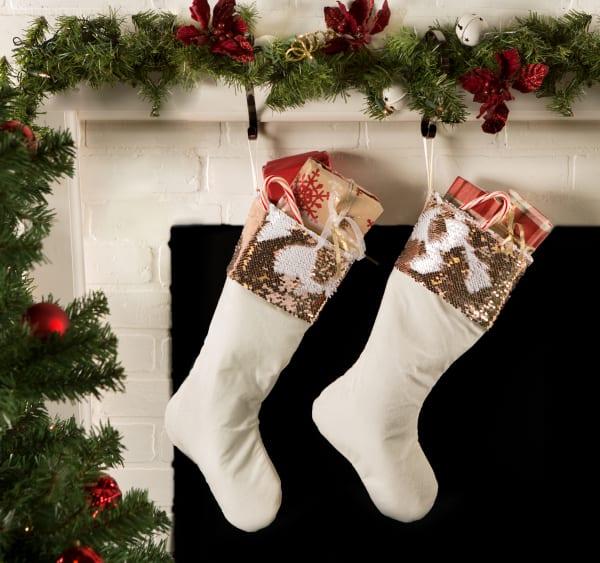 Holiday Stocking Cream Velvet With Champagne Sequin Border(Set of 2)
