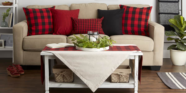 Gingham/Buffalo Check Red/Black Pillow Cover Set of 4