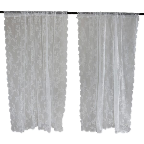 White Flower Blossom Lace Window Curtain 50x84 Set/2