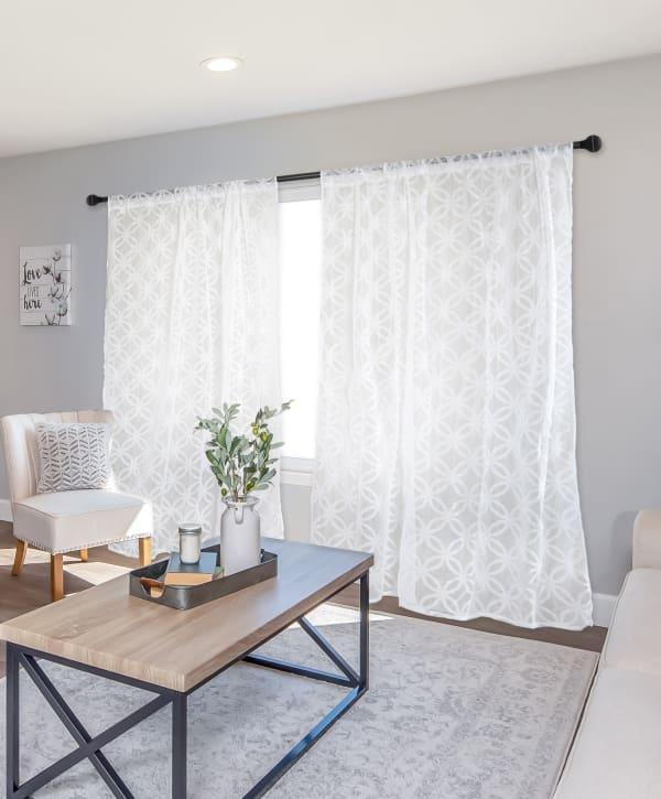 White Lace Lattice Window Curtain 50x63 Set/2