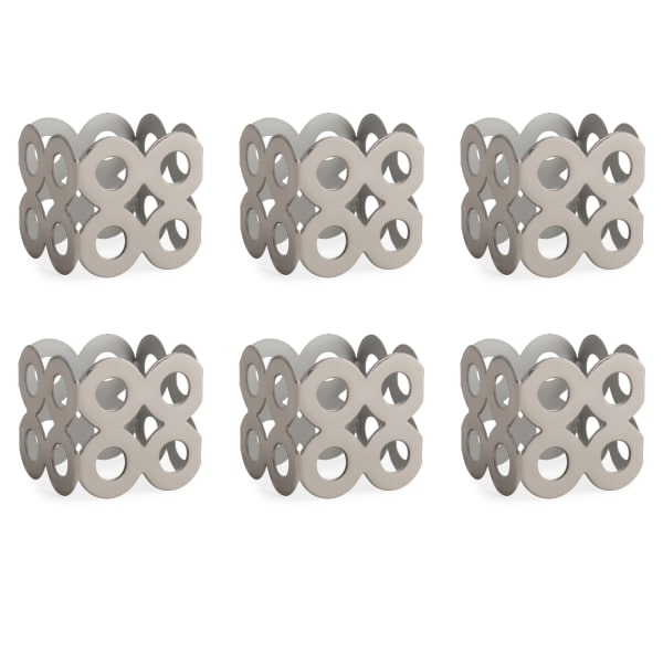 Silver Square Die Cut Napkin Ring (Set of 6)