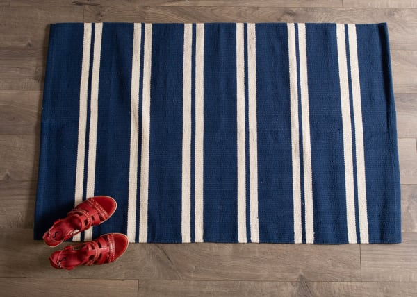 Navy Blue Double Cabana Stripe Rug 30x48