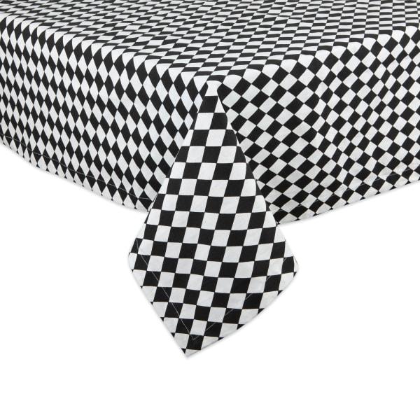 Black and Cream Harlequin Print Tablecloth 60x104
