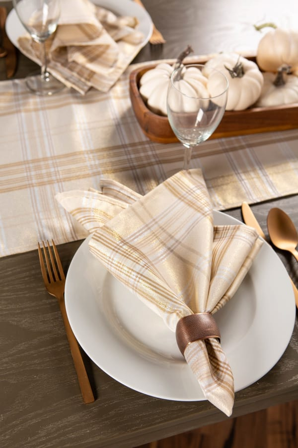 Cream Metallic Plaid Table Runner 14x72