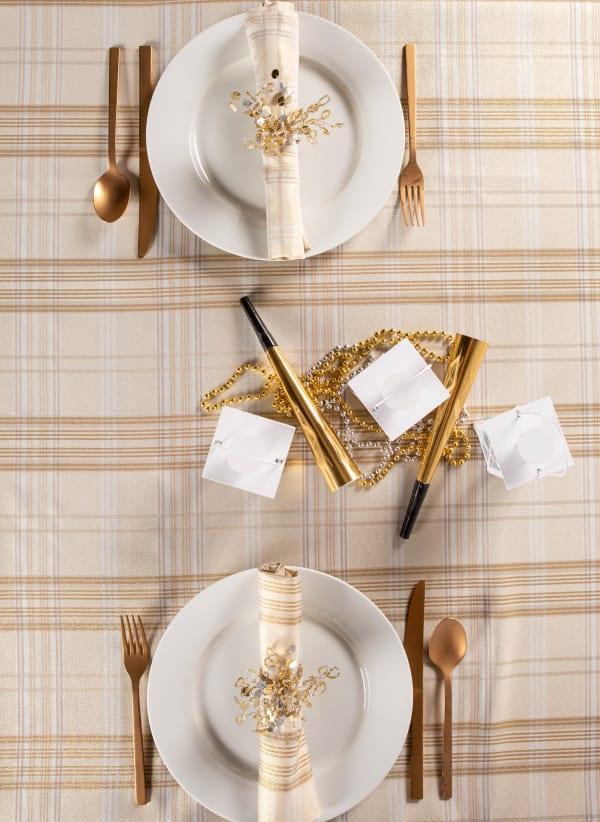 Cream Metallic Plaid Tablecloth 52x52