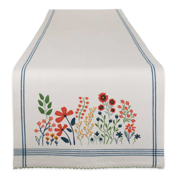 Flower Garden Embellished Table Runner 14x108