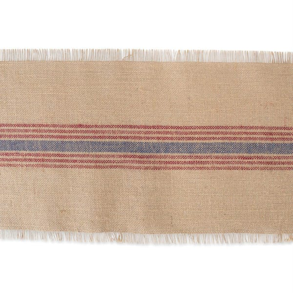 French Blue/Barn Red Middle Stripe Burlap Table Runner 14x72