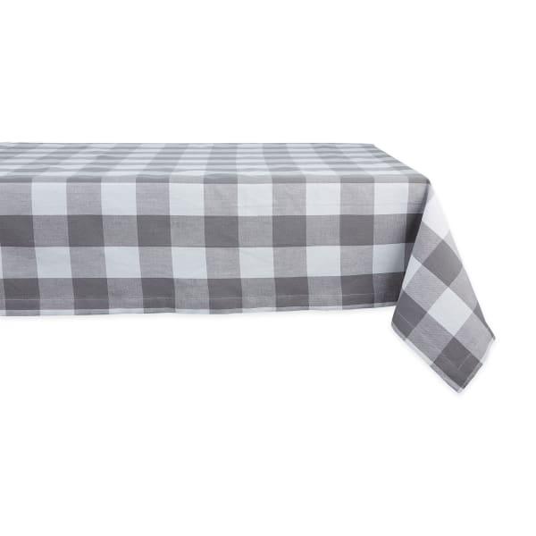 Gray & White Buffalo Check Tablecloth 60x104