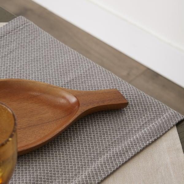 Gray Bordered Dobby Table Runner 15x72